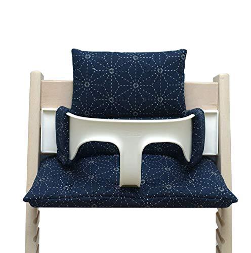 Blausberg Baby – hochwertiges Tripp Trapp Sitz-Kissen Set für Stokke Hochstuhl - 2-teilige Auflage/Polster/Sitzverkleinerer für Kinderhochstuhl – DIVERSE FARBEN (Blau Classic)