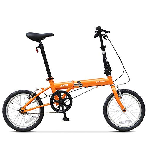 "Xiaoyue 16\"" Mini Falträder, Erwachsene Männer Frauen Students Leichtgewichtler Faltrad, High-Carbon-Stahl verstärkt Rahmen Pendler Fahrrad, Blau lalay (Color : Orange)"