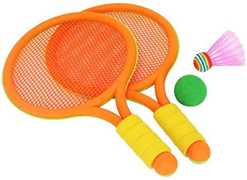 HLD Kinderschläger Badminton Tennisschläger-Set mit Kugel for Kinder Luminous Schläger, Extra Large Vogel Leuchtet Flut Weiche Badminton mit Federball Bälle Jungen und Mädchen Strand Außen