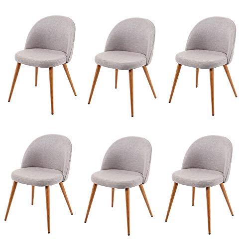 6X Chaise de Salle à Manger HWC-D53, Fauteuil, Style rétro années 50, en Tissu - Gris Clair