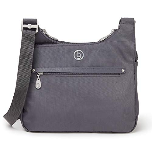 BG by Baggallini Raleigh Crossbody Bag - Stylish, Lightweight, Adjustable-Strap Purse With Multiple Pockets and RFID Protection, Shadow Gray