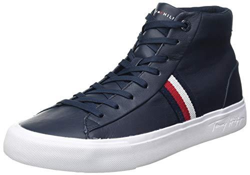 Tommy Hilfiger Corporate Midcut Leather Sneaker, Zapatillas CORPORATIVAS DE Cuero Hombre, Cielo del Desierto, 43 EU