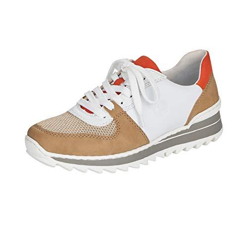 Rieker Damen Low-Top Sneaker M6910, Frauen Halbschuhe,lose Einlage,schnürschuhe,Halbschuhe,straßenschuhe,Lady,beige Kombi (62),36 EU / 3.5 EU