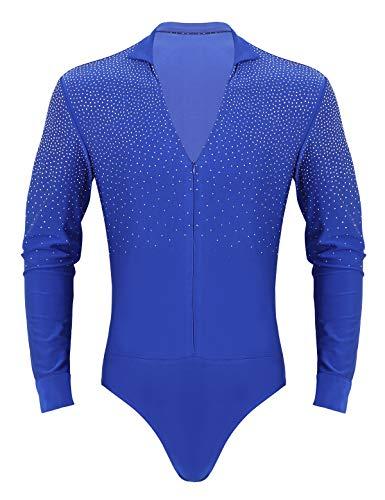 TiaoBug Herren Latein Body Langarm Oberteil Hemd mit Kragen Ballettanzug Stringbody Ballett Trikot V-Ausschnitt Gymnastik Leotard Glänzend Kostüm Royal Blau Large