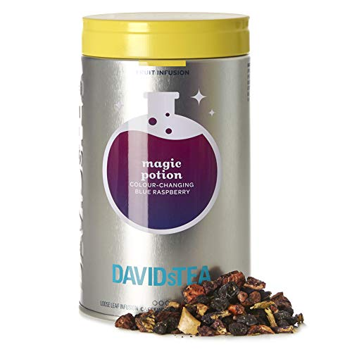 DAVIDsTEA Magic Potion Loose Leaf Tea Iconic Tin, Premium Colour Changing Blue Raspberry Herbal Tea with Butterfly Pea Flowers, 3.4 oz / 97 g