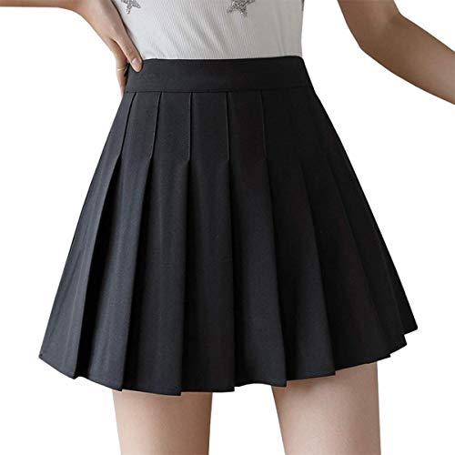 Pcunitly Women Girls Pleated Tennis Skirt Solid Color High Waist Mini Pleated Skirt (Black, M)
