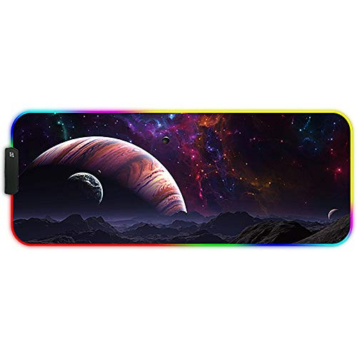 MARCELEN Large RGB Gaming Mouse Pads 800x300x4mm Led Mousepad Soft Computer Keyboard Mice Mat for MacBook, PC, Laptop, Desk Gaming Mouse Pads Starry Sky