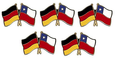 5er Pack Deutschland - Chile Freundschaftspin Yantec Pin Flagge