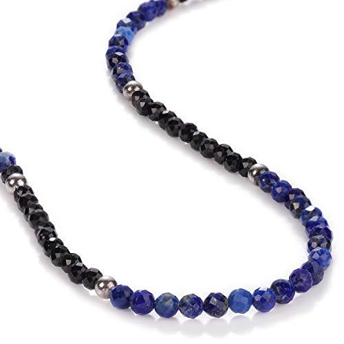 Collar de espinela negra lapislázuli de 3 mm, cuentas redondas facetadas, collar de piedras preciosas, collar delicado, 1 collar gargantilla de 45,72 cm, regalo