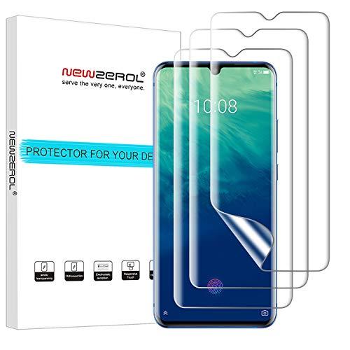 NEWZEROL Bildschirmschutzfolie für ZTE Axon 10 Pro (5G)/ ZTE Axon 11 (5G) / OnePlus 7, 3 Stück mit Fingerabdruck-Erkennung, Blasenfreies TPU, 3D-Kante zu Kante Volle Abdeckung Weiche Schutzfolie