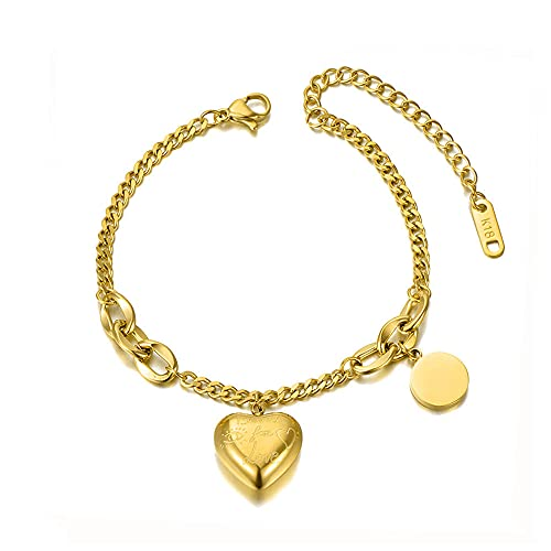 YFZCLYZAXET Pulseras Brazalete Joyería Mujer Pulseras De Acero Inoxidable con Dije De Corazón Pulsera De Cadena De Fiesta para Mujer-Dourado
