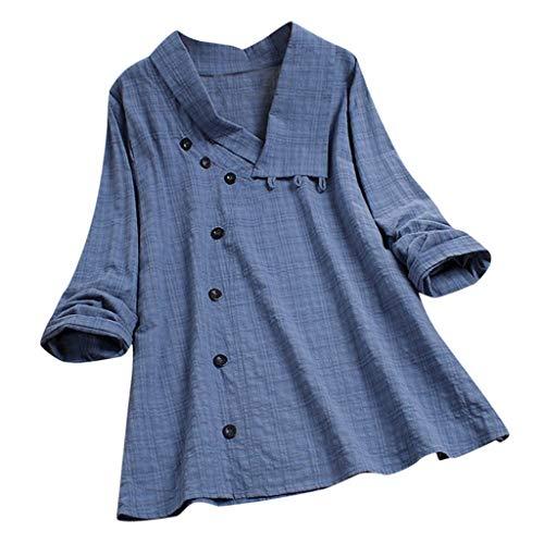 KUDICO Damen Plaid Button Shirt Große Größen Oberteile Bluse - Langarm T-Shirts Freizeit V-Ausschnitt Lose Tunika Tops (Blau,EU 42/CN 2XL)