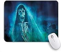 VAMIX マウスパッド 個性的 おしゃれ 柔軟 かわいい ゴム製裏面 ゲーミングマウスパッド PC ノートパソコン オフィス用 デスクマット 滑り止め 耐久性が良い おもしろいパターン (ハロウィーンのゴシック様式の暗い背景と死んだゴーストの頭蓋骨の神秘的な幽霊のホラーテーマアート)