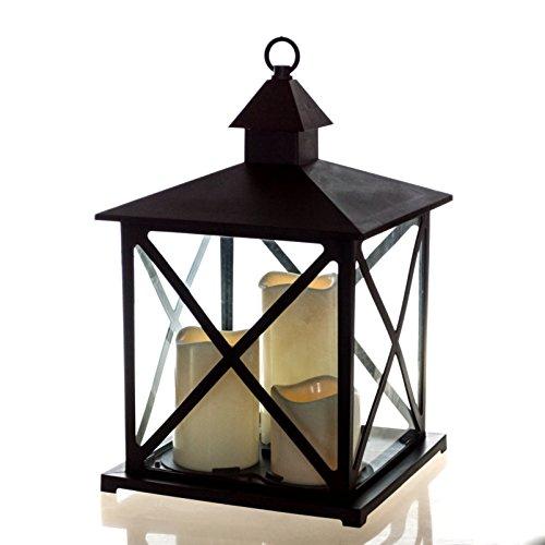 Große Outdoor Laterne mit LED Beleuchtung, Fernbedienung, 4 und 8 Stunden Timer, Flackerlicht, 36 cm Höhe, hängend oder stehend mit integrierten LED Kerzen.…