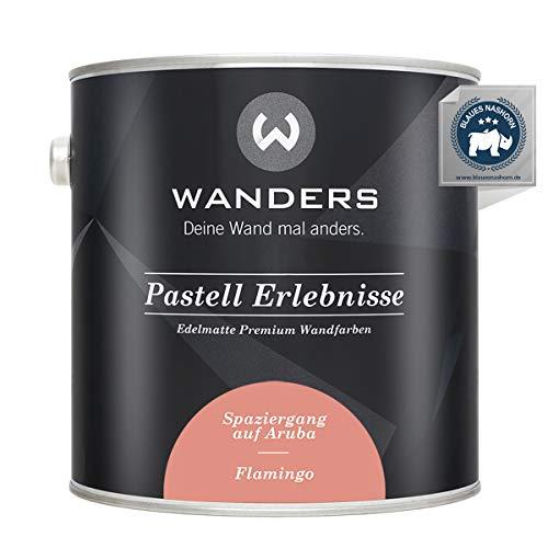Wanders24® Pastell Erlebnisse (2,5 Liter, Flamingo) edelmatte Wandfarbe - Feine Farben - in 40 Farbtönen - Wandfarbe Grau - Made in Germany