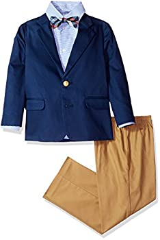 Izod boys 4-Piece Suit Set with Dress Shirt Bow Tie Pants and Jacket Dark Blue 7
