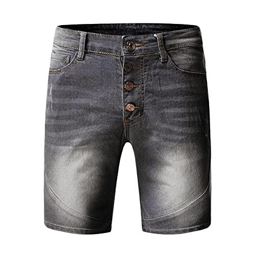 Kurze Hosen Herren Jeans Shorts mit Zerrissen Distressed Retro Lockere Sommer Jeanshose Kurzgröße Denim Short Pants Sportshorts Freizeitshorts