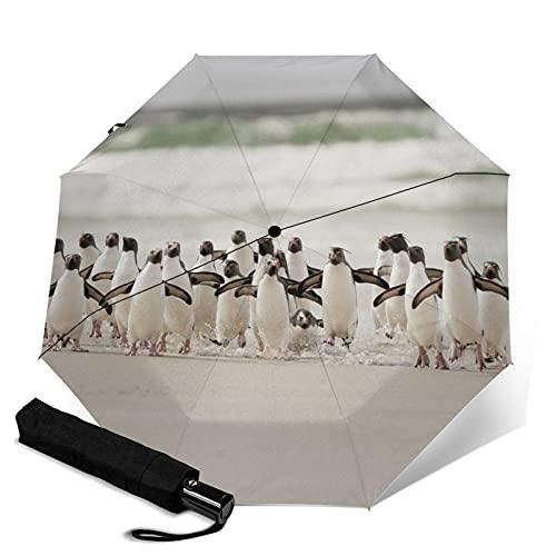 海辺のペンギン 折りたたみ傘 折り畳み日傘 ワンタッチ 自動開閉 晴雨兼用 持ち運びに便利 完全遮光 紫外線遮断 耐強風 超撥水 梅雨対策 折れない傘 男女兼用