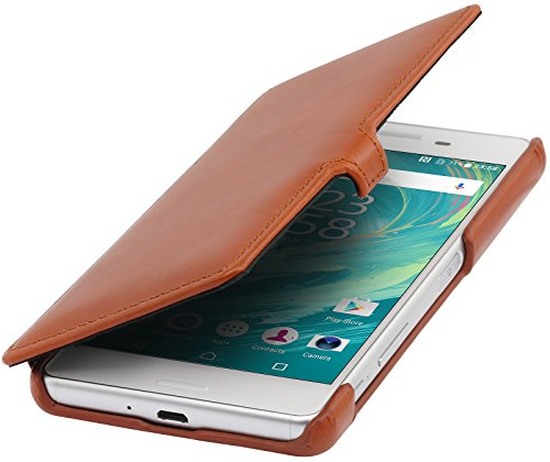 StilGut Book Type Hülle mit Clip, Hülle Leder-Tasche für Sony Xperia X Performance. Seitlich klappbares Flip-Hülle aus Echtleder, Cognac