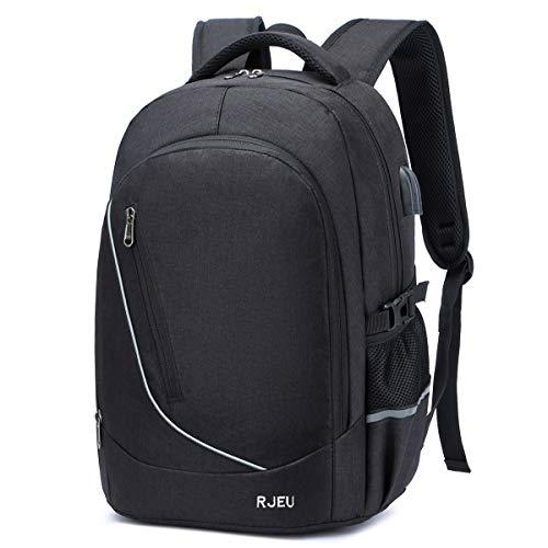 Rucksack Herren, Schulrucksack Jungen Teenager mit USB-Ladeanschluss, Wasserdicht Laptop Rucksack 15.6 Zoll für Arbeit Reisen Schule Herren Oxford 35-50L