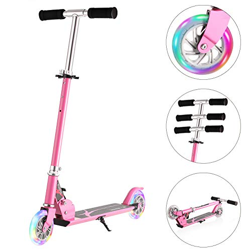 WeSkate Scooters for Kids with Big Wheels Adjustable Height Kick Scooters for Boys and Girls, Rear Fender Brake, Folding Light Up Kids Scooters for kids 3-12 years old