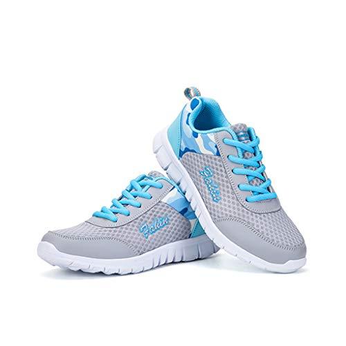 Primavera Señoras Moda Zapatos De Malla De Las Mujeres De Tamaño Más Deportes Casual Zapatos Todos Coincidir Moda De Mujer Zapatos Ligero Transpirable, Azul, 41