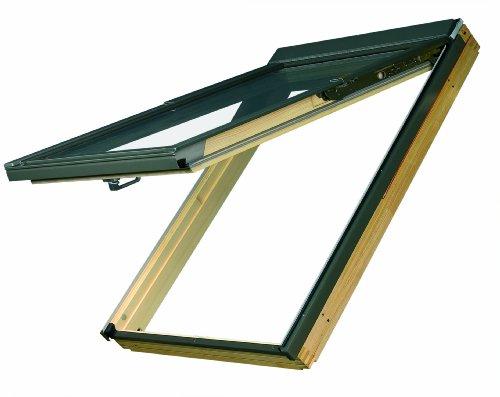 Dachfenster Fakro Klapp-Schwingfenster 114x118cm Holz mit Dauerlüftung Standardverglasung U3 mit Eindeckrahmen für Schindeln oder Schiefer