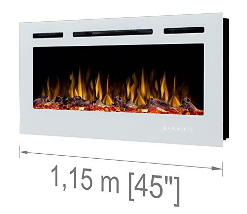 """Noble Flame Paris 1150 (115 cm/45 """") - Chimenea Eléctrica Chimenea de Pared Estufa Chimenea - Montaje en Pared Mando a Distancia - 14,5 cm Profundidad - - Negro"""