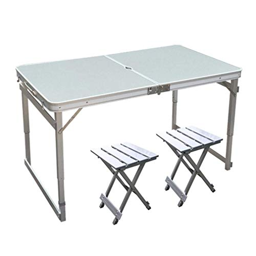WTT Set tafel/klapstoel klaptafel campingtafel uit aluminiumlegering voor gebruik buitenshuis draagbaar 120 x 70 x 70 cm (kleur: A)