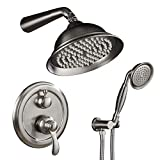 SHOWER KIT INCLUDE:8 inch square rain shower head (Brass), handheld shower (Brass), 16 inches shower arm (Brass), 59 inches shower hose (304 stainless steel), shower holder (brass) and Shower Faucet Rough-in Valve Body (brass) 3-FUNCTION WITH ONE SWI...
