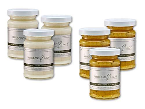 Nordland-Lachs 6er Gourmet Saucen Set mit je 3 Gläsern Sahne-Meerretich und Senf-Dill-Sauce