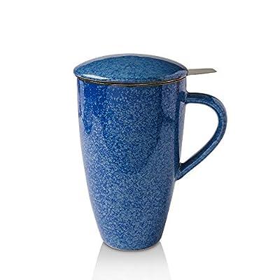 KOOV Porcelain Tea Cup with Infuser and Lid, 18 OZ Tea Mug with Infuser, Tea Infusers for Loose Tea Cup, Ceramic Travel Mug, Tea Steeper (Reactive Blue)