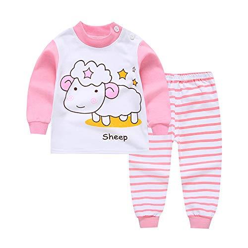 Chickwin Dos Piezas Pijama Niño Niña 100% Algodón Larga Manga Pijamas Niños Pjs aeronave Impresión Ropa de Dormir Top +Pantalones 1-7 Años (Oveja,100cm)