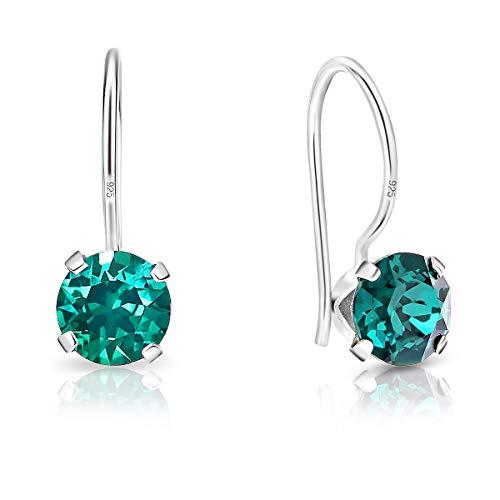 DTPsilver - Orecchini a Gancio - Argento 925 con Cristalli Swarovski Elements Rotondi - Diametro 6 mm - Colore: Smeraldo