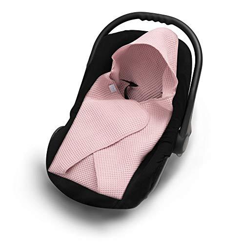 EliMeli Einschlagdecke für Babyschale 100% Baumwolle Leichte Baby Decke für Autositz aus Waffelstoff universal z.B. Maxi Cosi Ideal als Kuscheldecke Kinderwagedecke (Rosa)