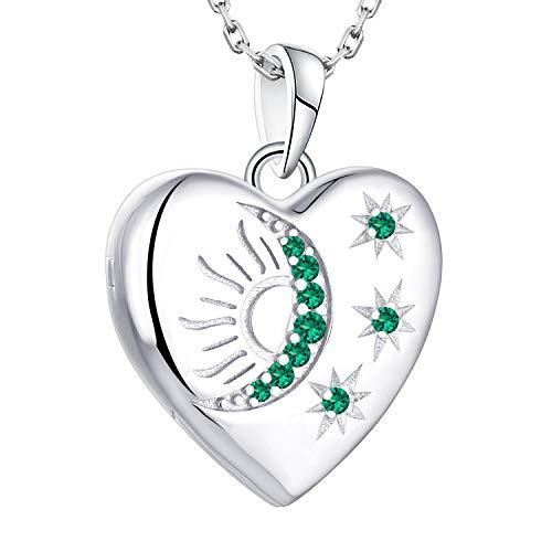starchenie Herz Medaillon zum Öffnen Foto Bilder 925 Silber Anhänger mit Stern/Mond/Sonne Geburtsstein Herz Medaillon Geschenke für Damen