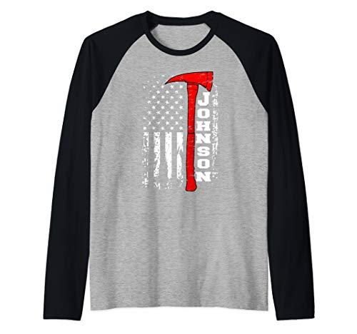 Johnson Firefighter Shirt Surname Johnson Family Gift Raglan Baseball Tee
