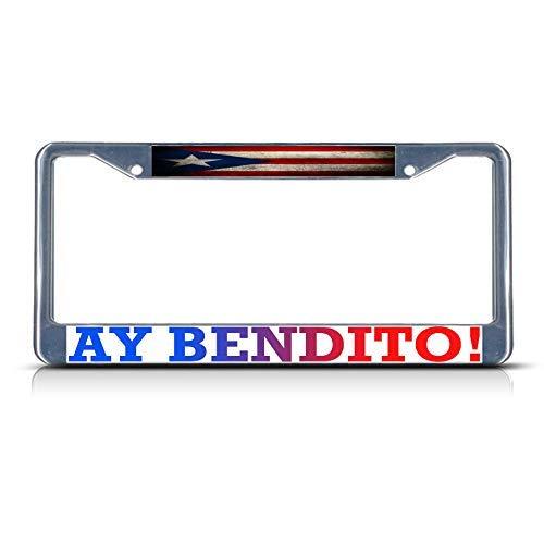 Newshowlee Metal License Plates Decor Decoration for Car, Car Tag - 12' x 6' Ay Bendito! Puerto Rico, Puerto Rican Flag