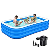 Nattork Inflatable Pool, 120 x 72 x 22 Inch Family Full-Sized Kiddie Inflatable...