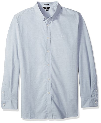 Volcom Herren Men's Oxford Stretch Long Sleeve Up Shirt Button Down Hemd, Wrecked Indigo, Klein