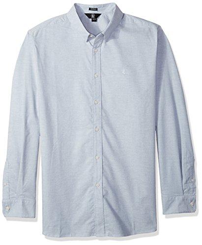 Volcom Herren Men's Oxford Stretch Long Sleeve Up Shirt Button Down Hemd, Wrecked Indigo, Klein