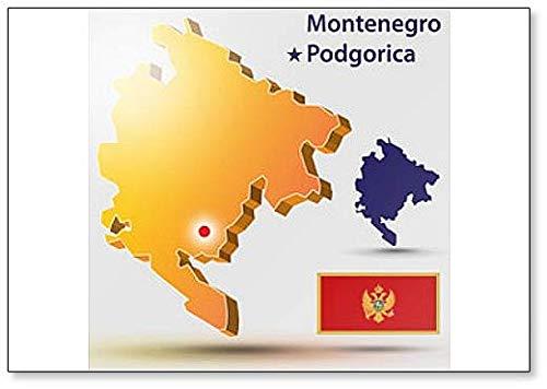 Kühlschrankmagnet, Motiv: Landkarte Montenegro mit Flagge & Hauptstadt, Podgorica