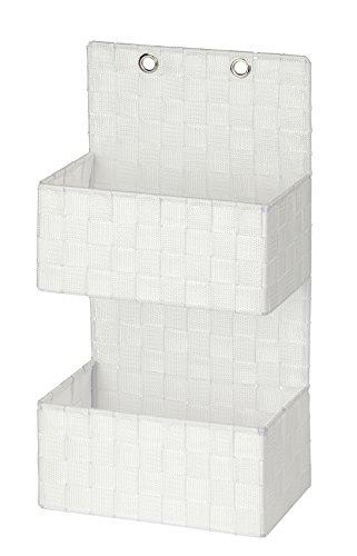 Wenko 22071100 Organizer Adria zum Hängen Badkorb, 2 Etagen, Polypropylen, weiß, 15,5 x 25 x 48 cm
