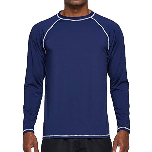 Arcweg Camiseta Deportivas Hombres Rash Guard con Filtro de Protección UPF 50+Mangas Largas Alta Elasticidad Secado Rápido Surf Natación Verano Azul Oscuro 2XL(EU)