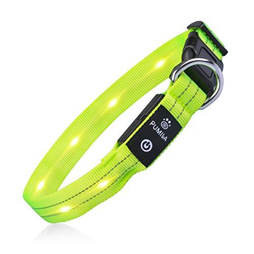 PcEoTllar LED Hundehalsband Leuchthalsband Wasserdicht Leuchten Hundehalsband USB Wiederaufladbare Blinkende Hundehalsbänder Einstellbar Super Bright für Nacht Dunkel - Grün - L