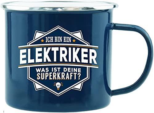 History & Heraldry Echter Kerl - Emaille Becher Elektriker - individuelle Tasse mit Name und Spruch