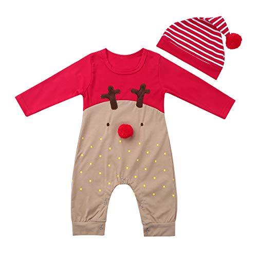 iiniim Unisex Baby Strampler Weihnachten Kostüm Hirsch Muster Langarm Overall Bodysuit mit Weihnachtsmütze Für 0-12 Monate Rot 50-56/0-3 Monate