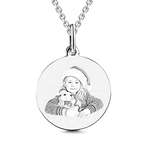 TheBigThumb Grabado Personalizado Foto Colgante Collar Nombre Charm Collar Cumpleaños Navidad Aniversario Ideas para Amantes/Amigos Plata-Redondo 20'(50cm)