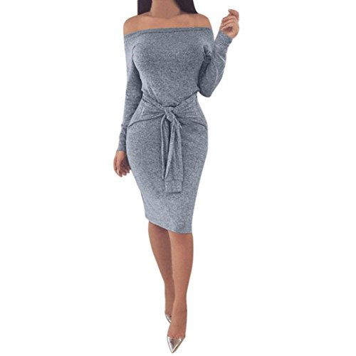 Longra Damen Schulterfrei Kleid Beiläufiges Langarm Minikleid T-Shirt Kleid Mit Gürtel Frauen Party Mini Kleid Tunika (S, Gray)