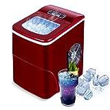 Máquinas para hacer hielo,VAZILLIO Máquina de hielo,Cantidad de hielo 12Kg /24H, 2 Tamaños de Cubitos, Fabricador de Hielo Portátil Encimera con Tanque de Agua 2L Cesta de Hielo (Rojo)